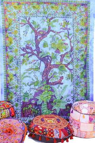 Hand printed Tree of Life Tapestries Wall Hanging or Bedsheet Blues