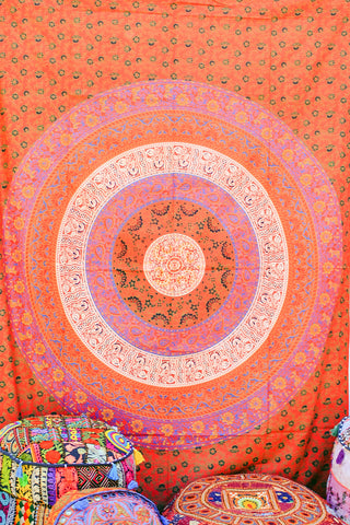 Hand printed Mandala Tapestries Wall Hanging or Bedsheet reds