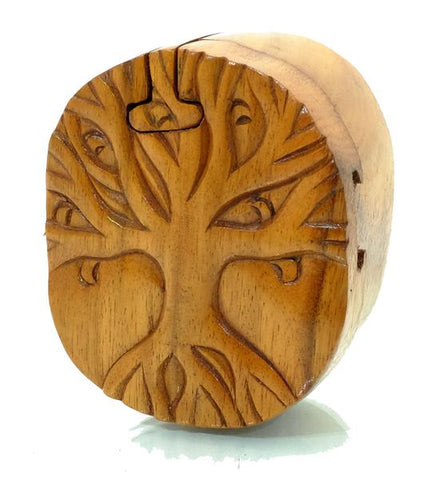 Handcarved Wooden Tree Puzzle Boxes