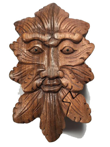 Handcarved Wooden Green Man Puzzle Boxes
