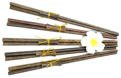 Coconut Wood Chopstick Gift Set of 5 with table setting holders