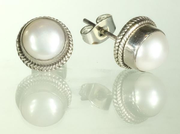 Sterling Silver Round  Fresh Water Pearl Gemstone Stud Earrings