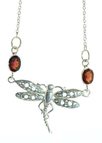 Sterling Silver Garnet Dragonfly Necklace
