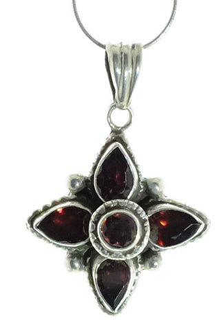 Sterling Five Stone Garnet Star Pendant