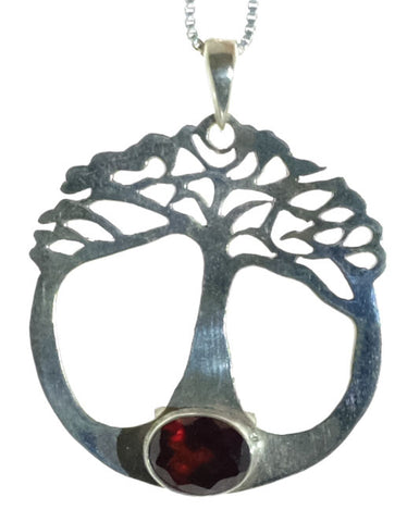Hand cut Sterling Garnet Tree of Life Pendant