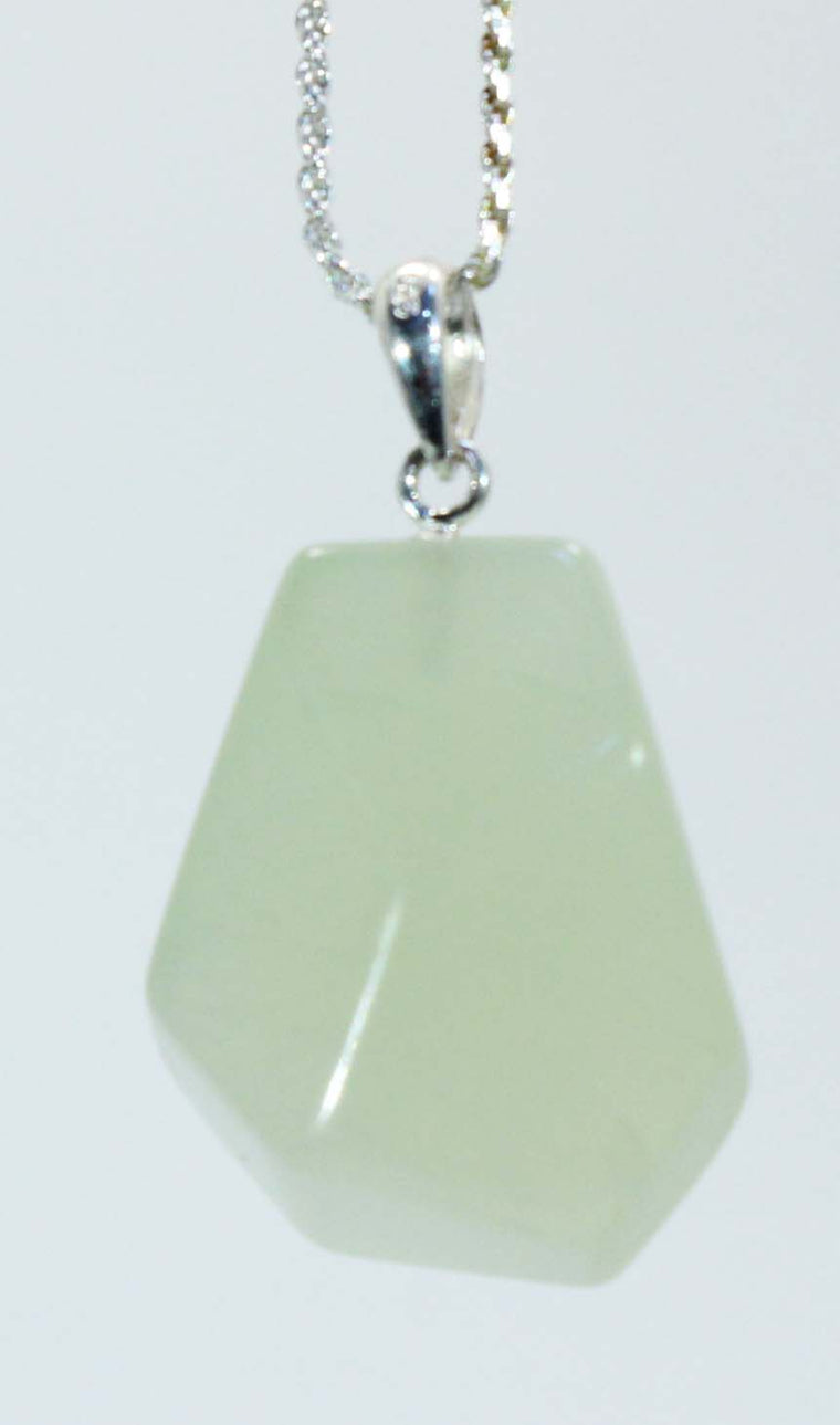 Sterling Silver Faceted Jade Chunk Pendant