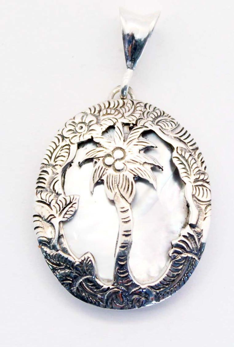 Sterling Silver Hand cut Palm Tree Mother of Pearl Pendant