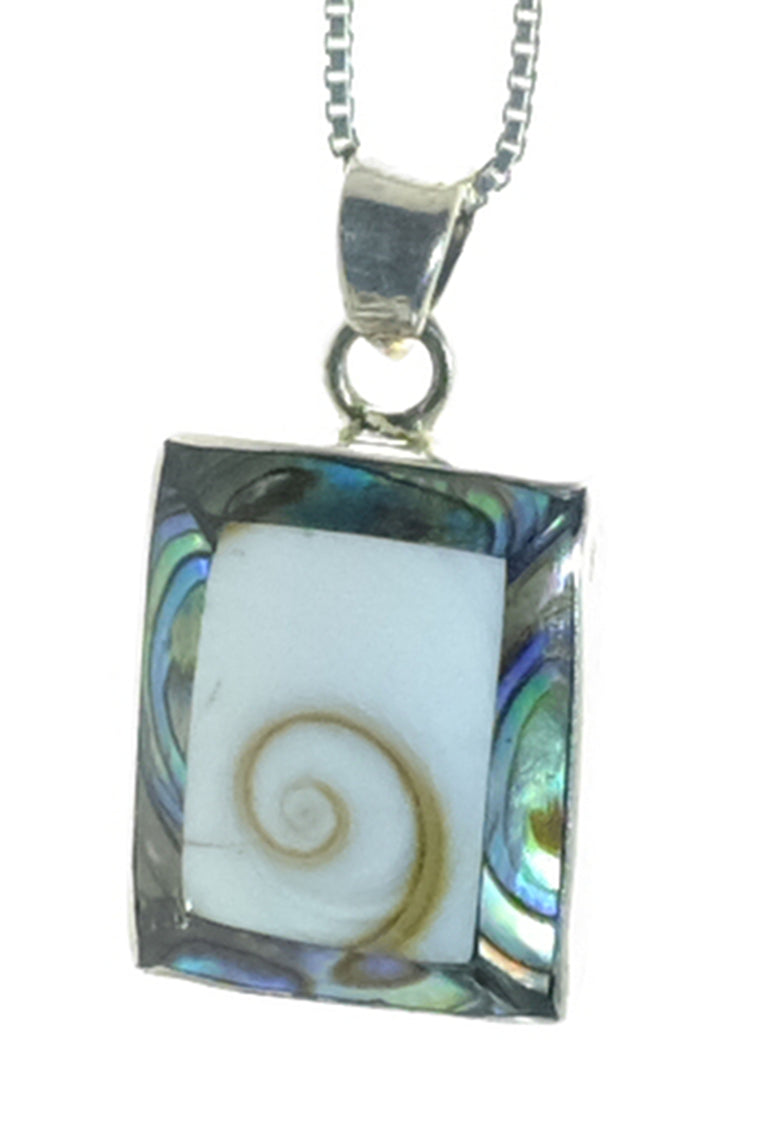 Sterling Abalone & Shiva's Eye Shell Pendant