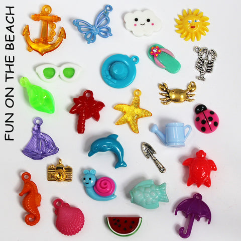 BEACH trinkets (26) for I Spy, Teaching, SLP, ESL, miniature food