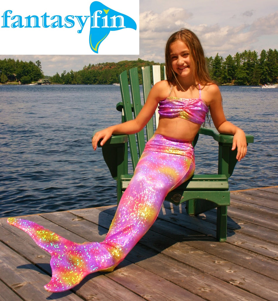 Child's Fantasy Fin #1 Safest & Best Quality Swimmable Mermaid Tail with Monofin  - New Sparkling Rainbow