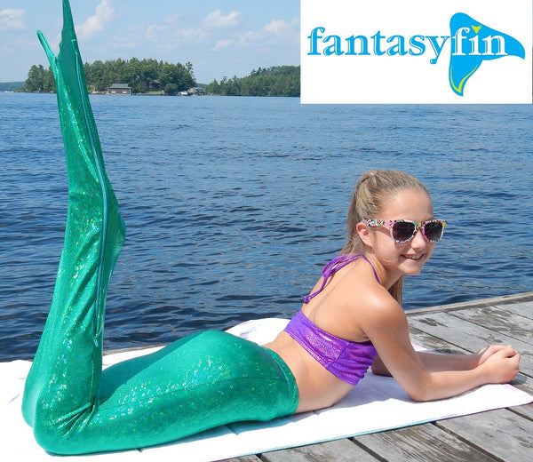 Junior/Teen Fantasy Fin Quality Swimmable Mermaid Tail (Monofin NOT Included) - Shimmer Green