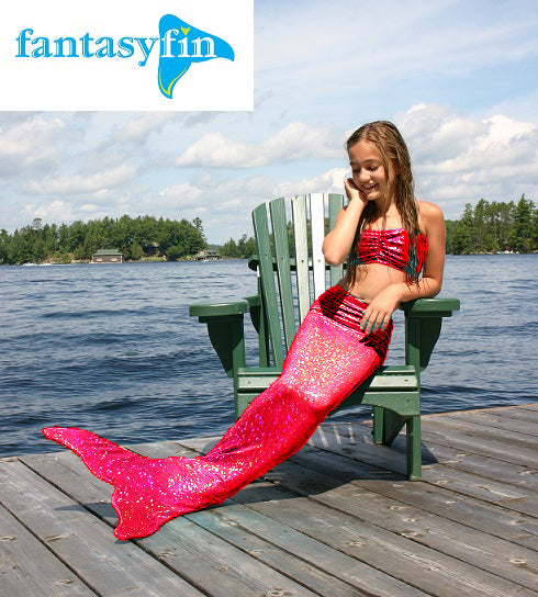 Child's Fantasy Fin Quality Swimmable Mermaid Tail with Monofin  - Red