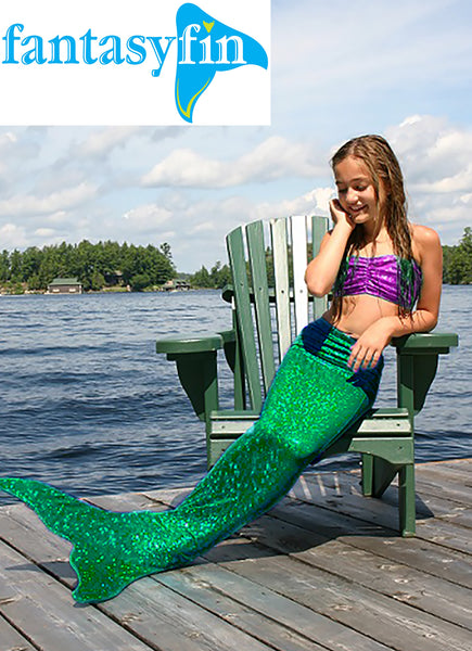 Child's Fantasy Fin Quality Swimmable Mermaid Tail (Monofin NOT Included) - Ariel Green