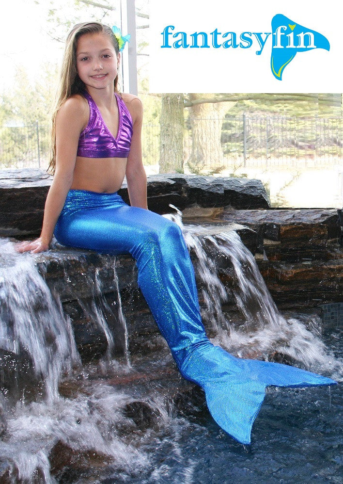 Child's Fantasy Fin #1 Safest & Best Quality Swimmable Mermaid Tail with Monofin & Free Bandeau Bikini Top  - Shimmer Blue
