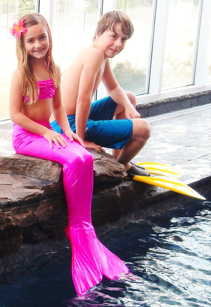 Junior/Teen Fantasy Fin - #1 Safest & Best Quality Swimmable Mermaid Tail with Monofin - Sparkling Pink