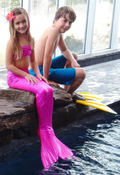 Child's Fantasy Fin Quality Swimmable Mermaid Tail with Monofin  - Sparkly Jazzy Pink