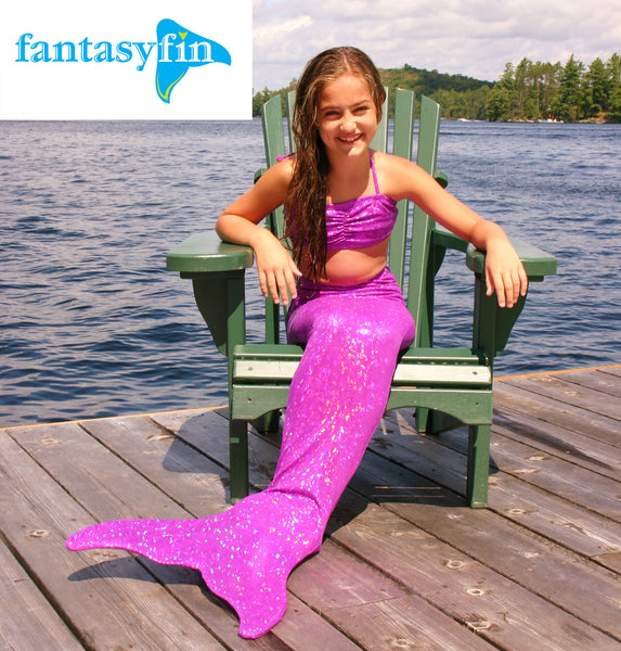 Child's Fantasy Fin #1 Safest & Best Quality Swimmable Mermaid Tail with Monofin  - New Sparkle Purple Mermaid Scale
