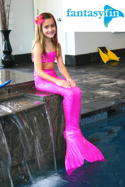 Child's Fantasy Fin #1 Safest & Best Quality Swimmable Mermaid Tail with Monofin & Free Bandeau Bikini Top  - Sparkly Jazzy Pink