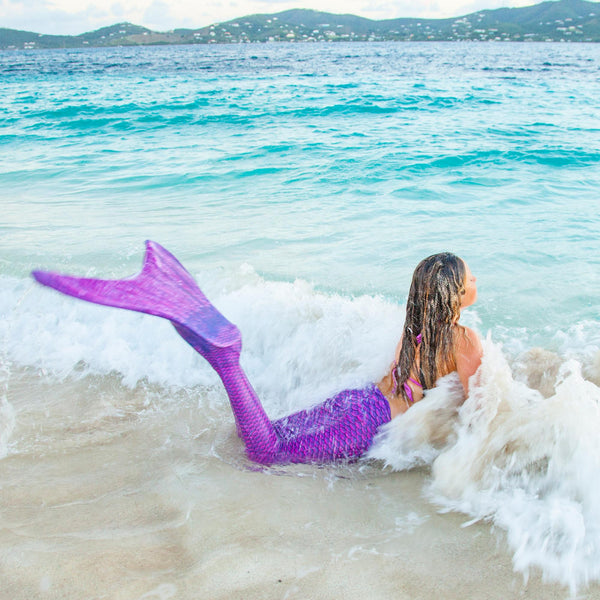 Child's New Fin Fun Swimmable Mermaid Tail with Neoprene Monofin and FREE Backpack- Asian Magenta