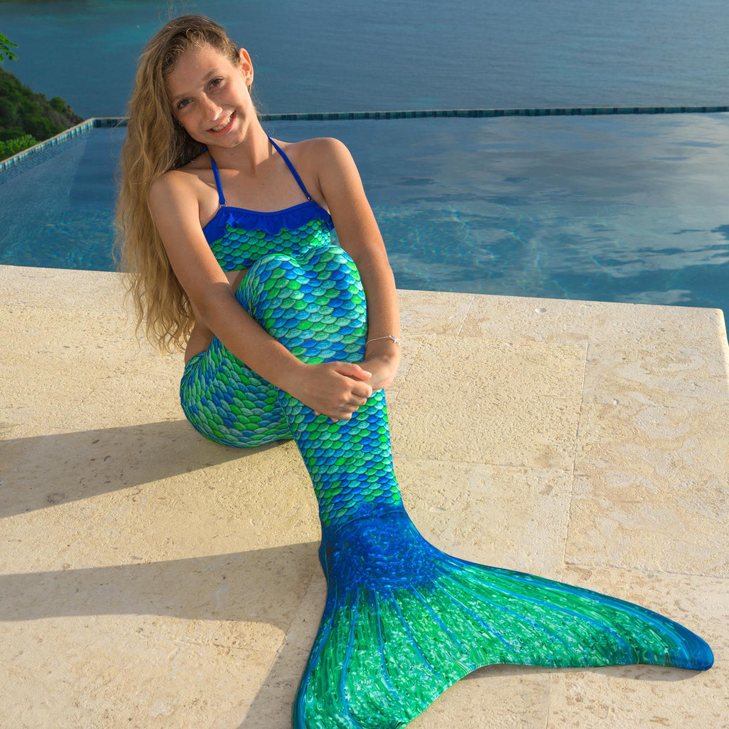 Child's New Fin Fun Swimmable Mermaid Tail with Neoprene Monofin and FREE  Backpack - Aussie Green - 06 (age 6/7)
