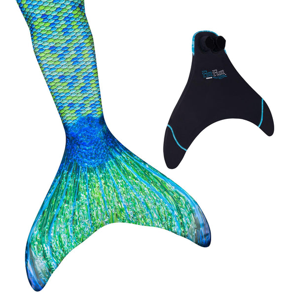 New Junior/Adult Fin Fun Swimmable Mermaid Tail with Neoprene Monofin and FREE Backpack- Aussie Green