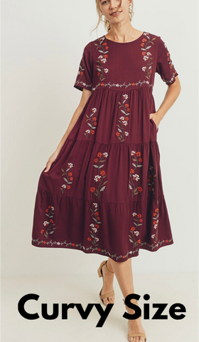 Airdrie Curvy Embroidered Dress