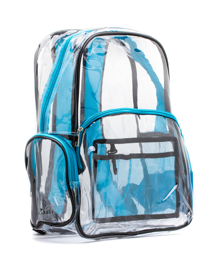 clear backpack blue