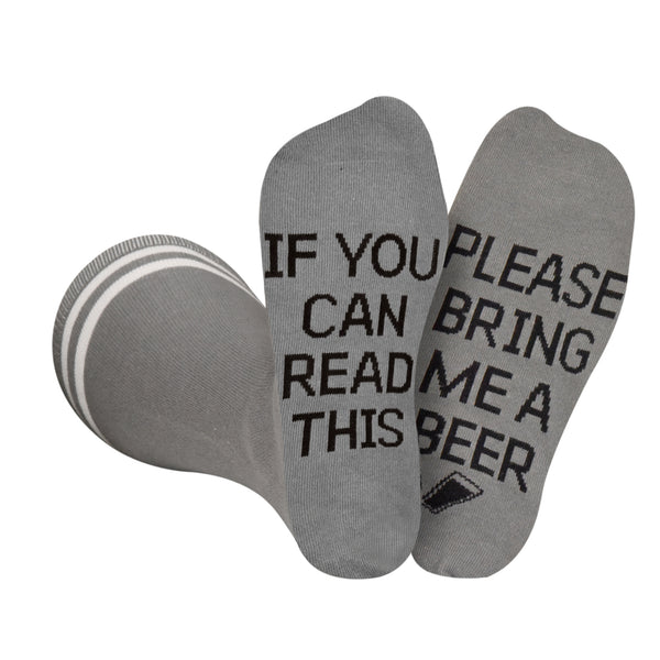 Please Bring Me Beer Socks - Gray and Black