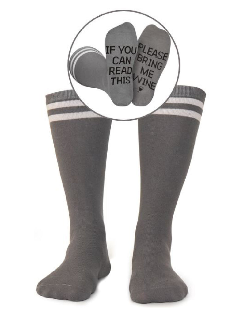 Please Bring Me Wine Socks - Gray and Black