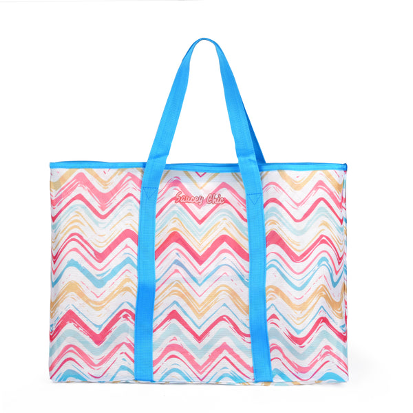 Large Mesh Beach Bag Tote for Women - Blue
