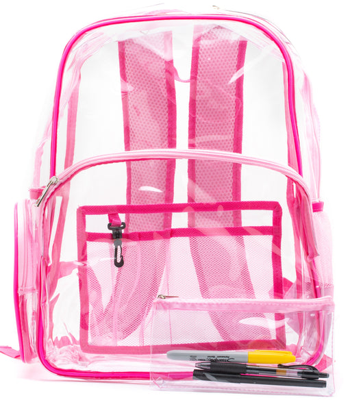 clear backpack pink