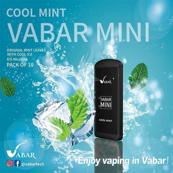 Cool Mint Vabar Mini Disposable Pod Vape in UAE. Dubai, Abu Dhabi, Sharjah, Ajman - I Vape Dubai
