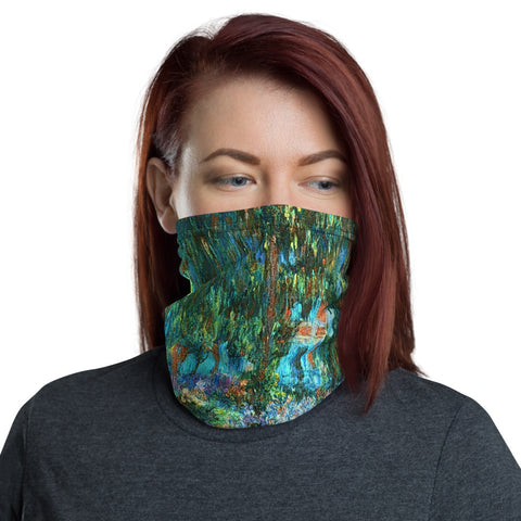 Monet Pathway of Flowers Neck Gaiter Face Shield