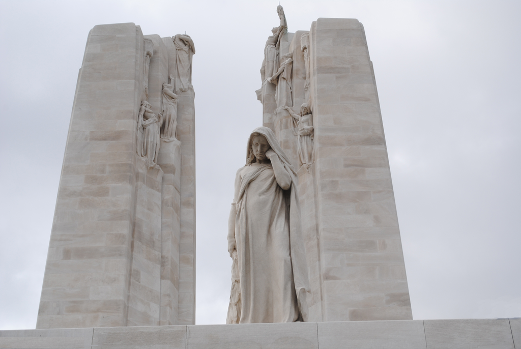 "The mourning figure of ""Mother Canada""  of the Vimy Memorial."
