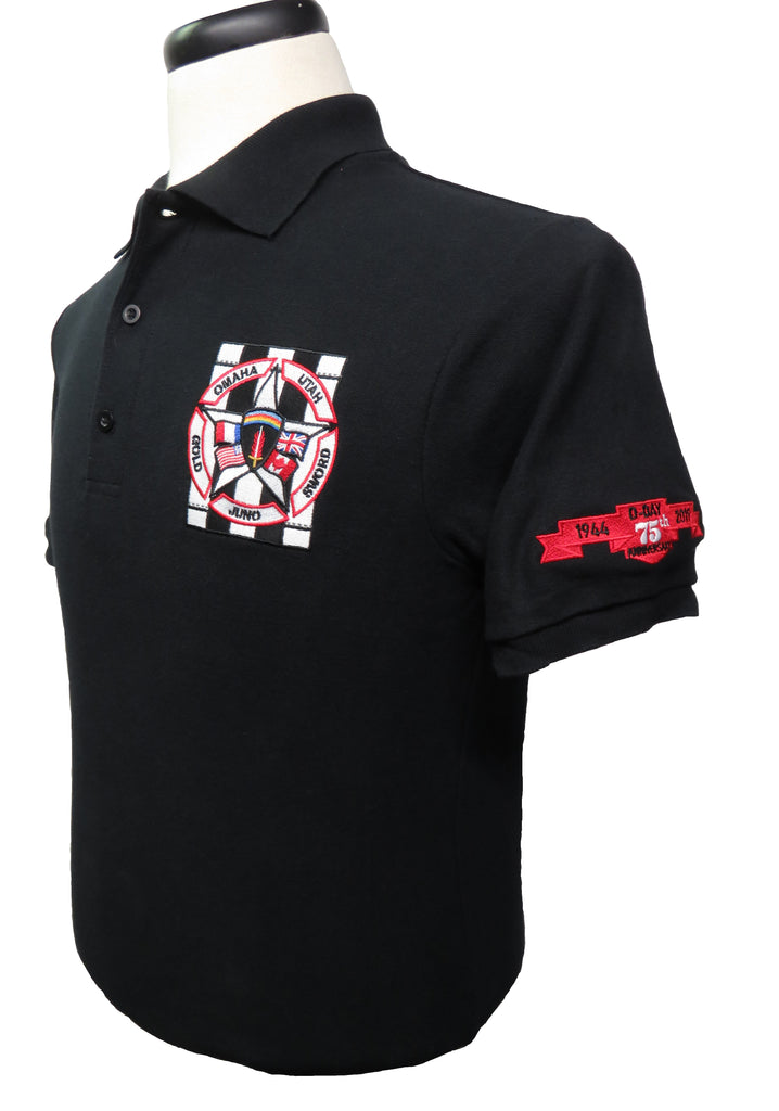 D-Day Black Short Sleeve Golf/Polo Shirt