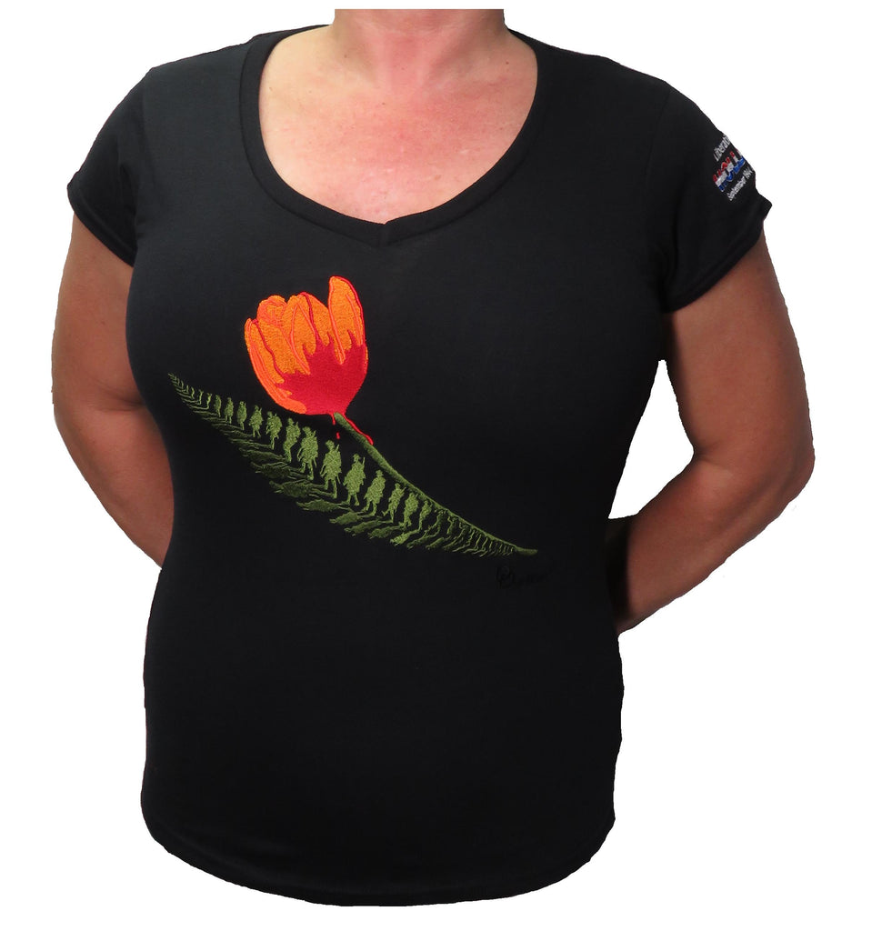Ladies Short Sleeve Liberation of Holland V neck T-shirt