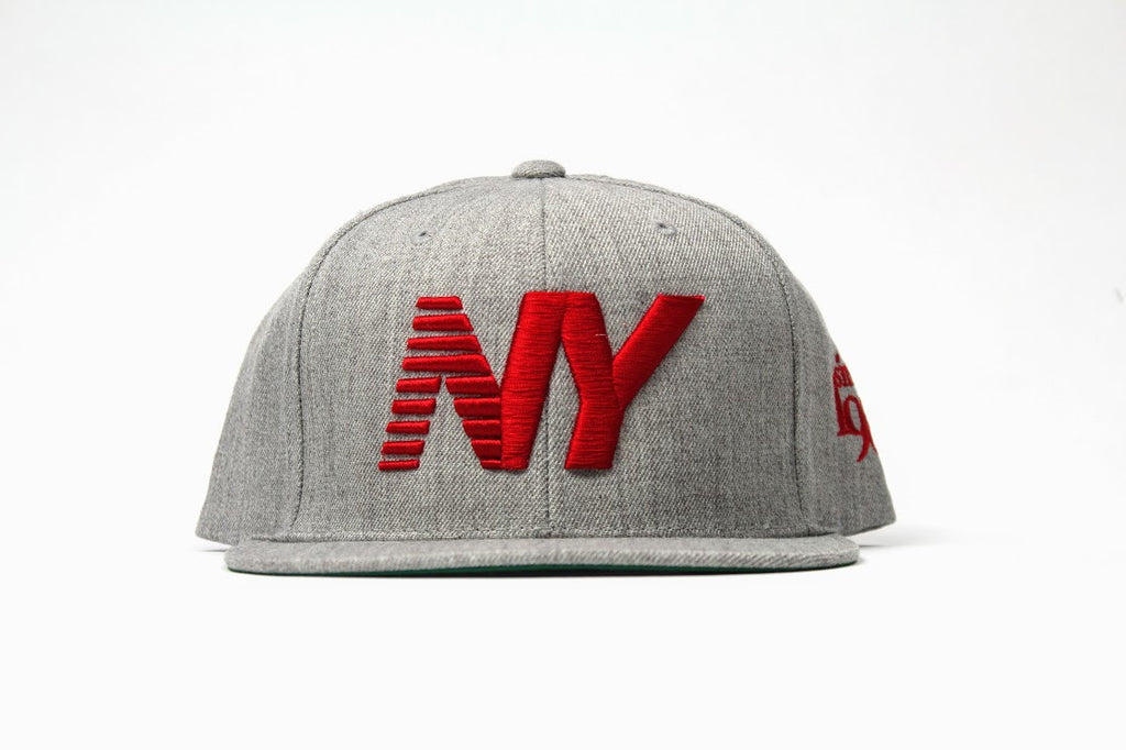 Heather x Red NY Balance Snapback