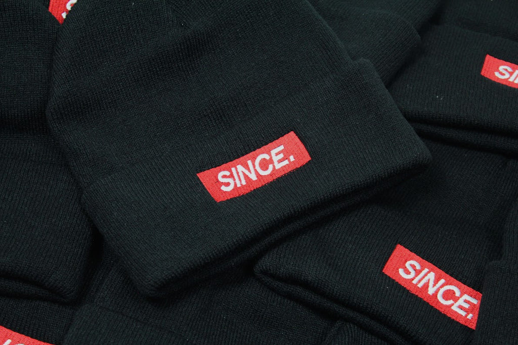 Black Mini Box logo Beanie