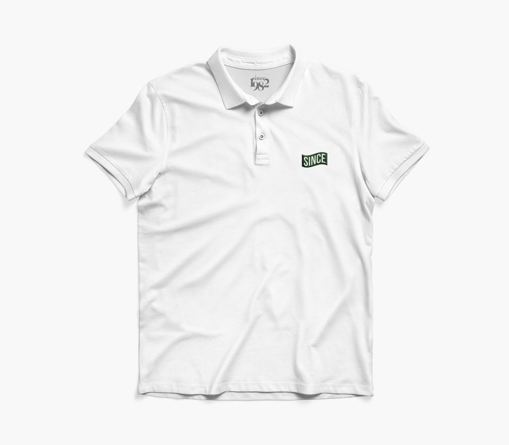 White / Green Since Flag Polo