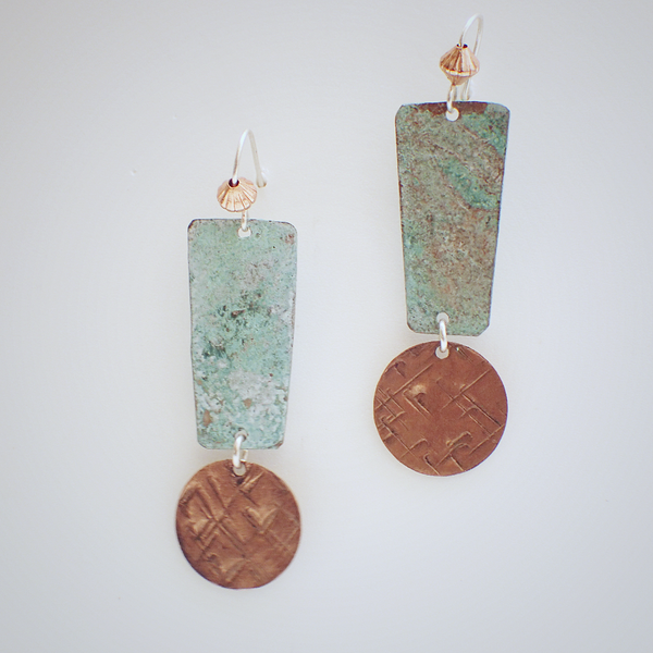Copper Earrings With Patina