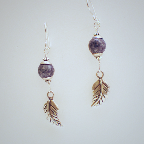 Sodalite Leaf Earrings