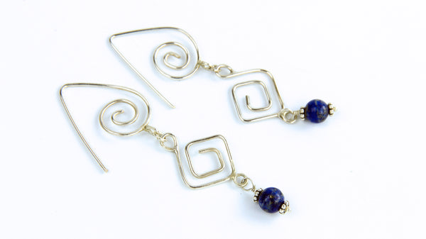 Geometric Earrings with Sodalite Beads