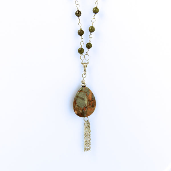 Bloodstone and Pyrite Necklace