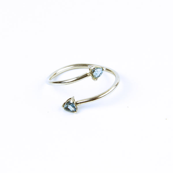 Aquamarine Bypass Ring