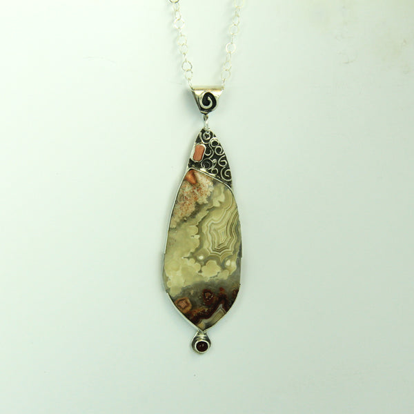 Crazy Lace Agate, Carnelian and Coral Necklace
