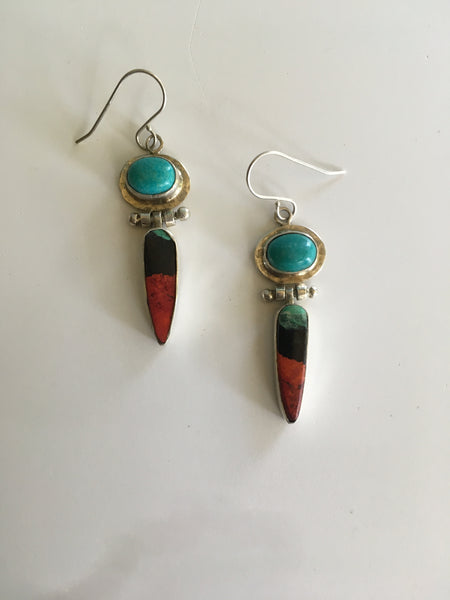 Turquoise and Sonoran Sunrise Earrings