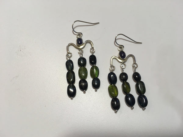 Iolite and Tourmaline Chandelier Earrings