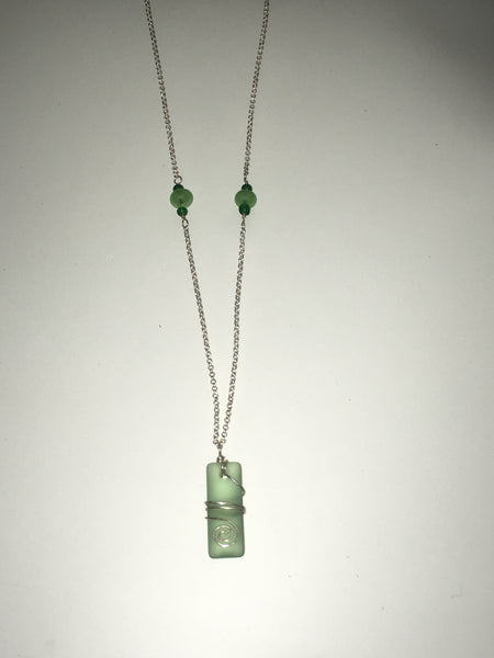 Green Etched Glass Necklace