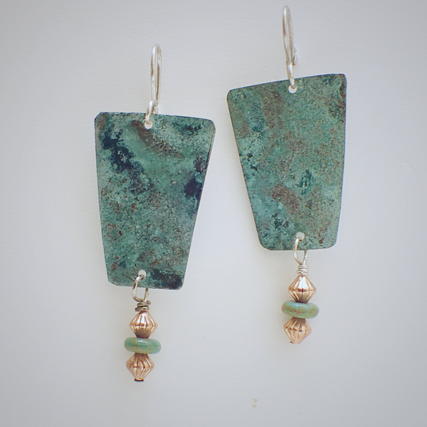 Copper Earrings with Turquoise Accents.