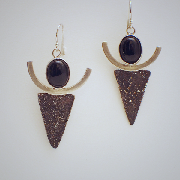 Tribal Style Onyx Earrings
